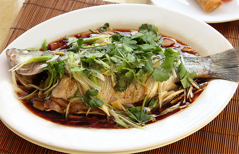 Steamed striped bass for Steamed whole fish